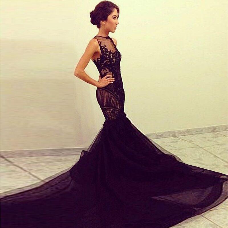 Buy Elegant Mermaid 2015 Evening Dresses Black Mesh Long 88b51b964