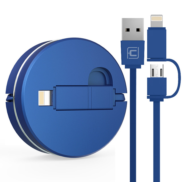 CAFELE Logo Aanpasbare TPE 2 in 1 Intrekbare USB Charger Cable 100 cm Lengte DC 2.0A Telefoon Usb-oplaadkabel USB
