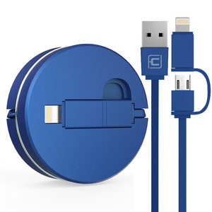 CAFELE Logo Customizable TPE 2 in 1 Retractable USB Charger Cable 100cm Length DC 2.0A Phone USB Charging Cable USB