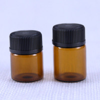 1ml 2ml 3ml 5ml multiple size options mini Amber Glass Essential Oil Bottle with black lids wholesale