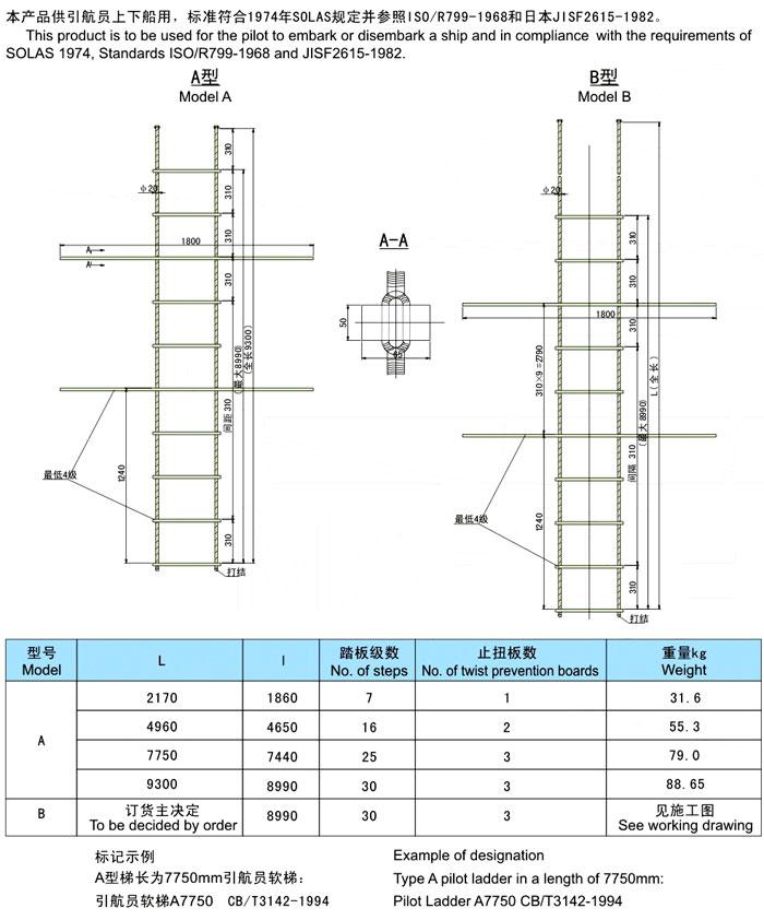 Marine Aluminum Wooden Wire Rope Ladder - Buy Marine Rope Ladder ...