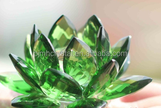 MH-L012 beautiful green crystal lotus flower