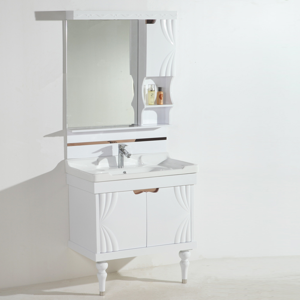 Blanco tallado gabinetes de baño moderno pvc mueble de baño ...