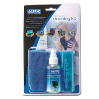 Laser 60ml LCD Monitor screen cleaner kit includes cleaning solution, micro fibre cloth, dusting brush and carrier pouch