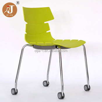 Whole Modern 4 Legs Plastic Office Chair With Wheel