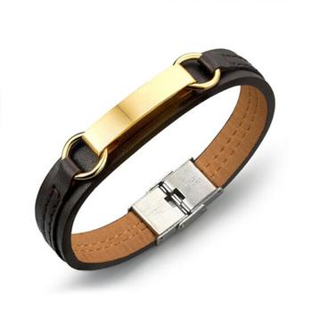 572cf1cd25f5 CH joyería mens 316 l acero inoxidable 18 K oro ID pulsera de cuero  Accesorios