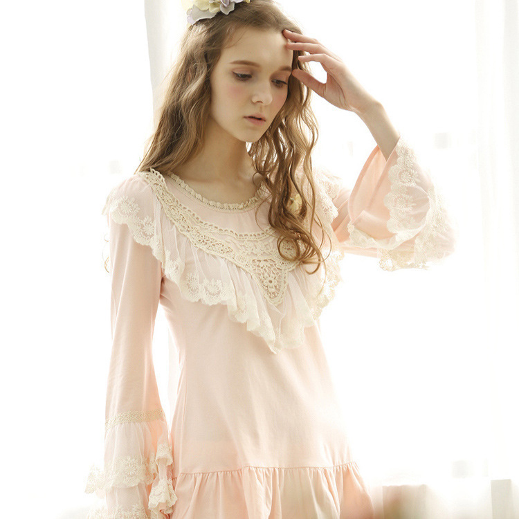 Get Quotations · Free shipping 2015 new women spring autumn cotton pajama  sets princess lace women sleepwear pajamas Beautiful 706d79880