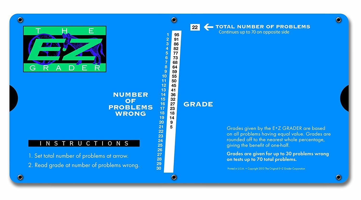 """E-Z Grader. 7200 Large Print, Educational Grading Chart, Computes Percentage Scores Up to 70 Questions, 10"""" x 5"""", Royal Blue (Limited Edition)"""