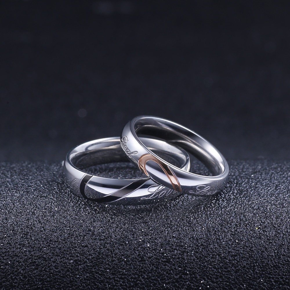 Hot Sale Couple Ring Men Women Love Wedding Ring Titanium Steel