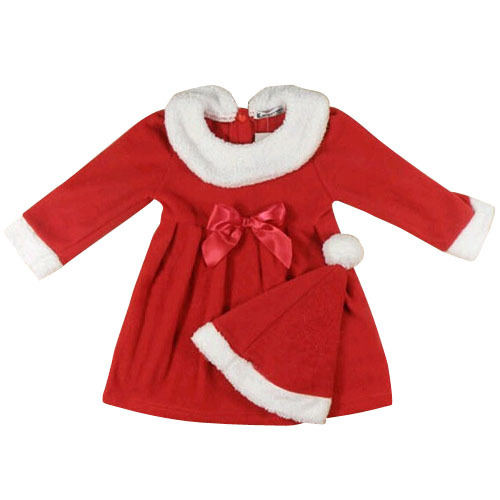 2015 Children Girls Boys Christmas Clothing Set Bow Pleated Kids Christmas Dress+Hat Child Girls Boys New Year Clothing Gift