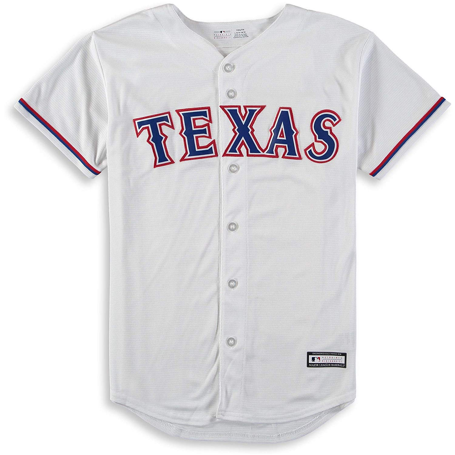 1479d0bad Get Quotations · Outerstuff Texas Rangers Blank White Youth Cool Base Home  Jersey