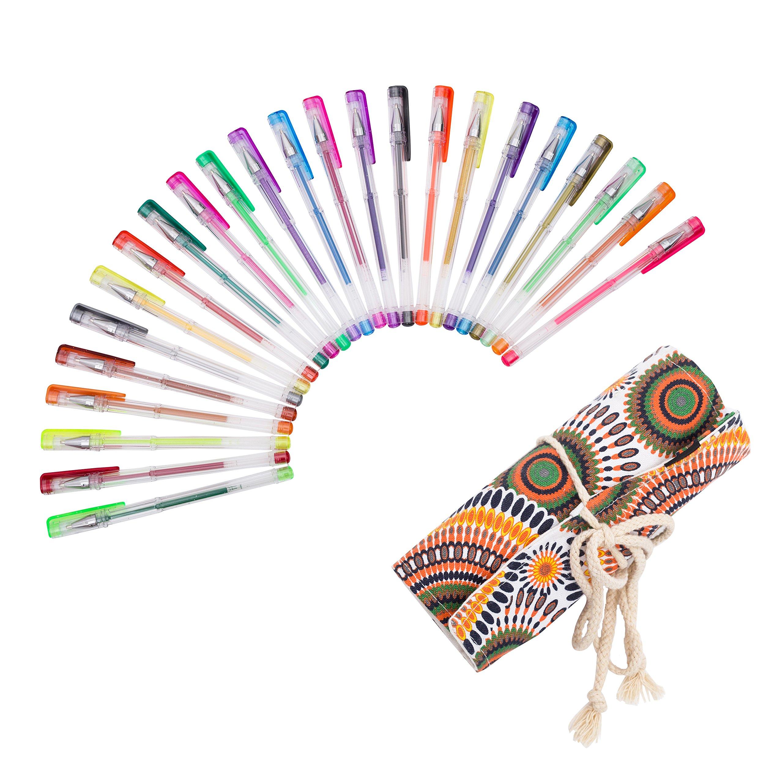 Exerz ART EXGL24A 24 PCS colour gel pens set with a string wrap – roll up pouch, fine ink ballpoint pens,, vibrant colour, free flowing, glitter pens, neon, metallic, glitter neon