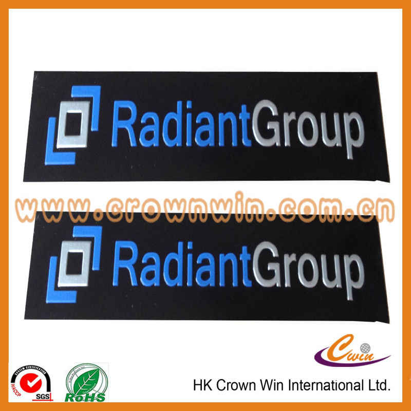 3M glue metal label with embossed logo
