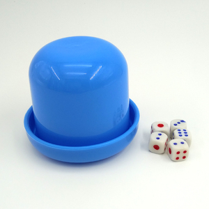 Plastic Mini Poker Dice Roller Cup Tray Dice Shaker Game Set with 5 Dices For Bar