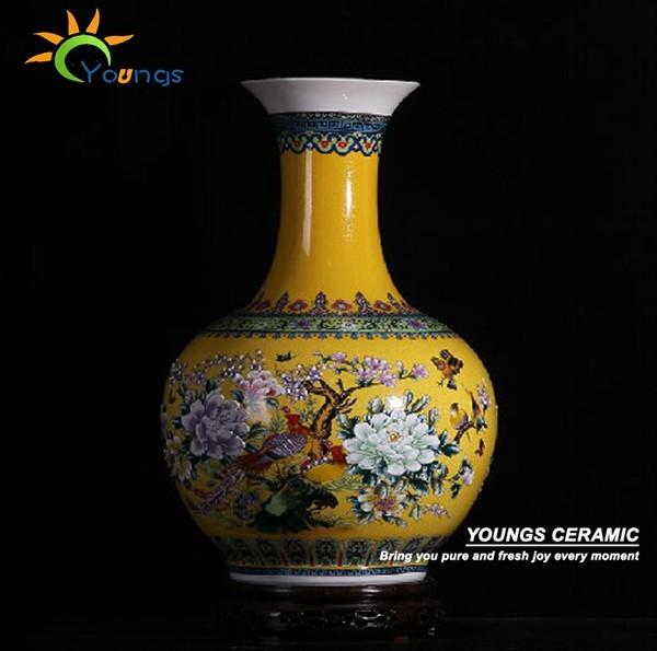 H56cm Big Yellow Ceramic Decorative Floor Vases For Home Hotel Buy