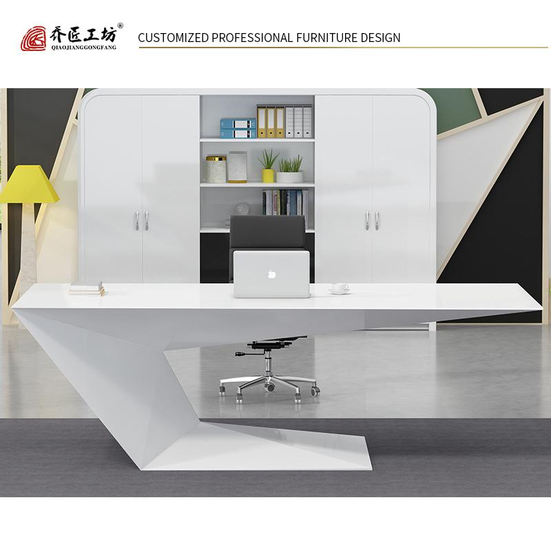High Tech White Executive Office Desk Modern Writing Desk Mdf Reception Desk Office Boss Table