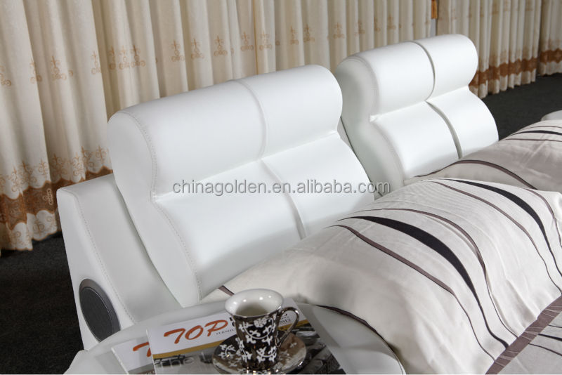 G1031 Foshan Furniture Manufacturer King Size Leather Bed With Tv