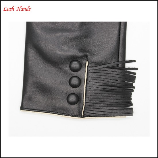 Ladies Popular tassels style genuine leather gloves