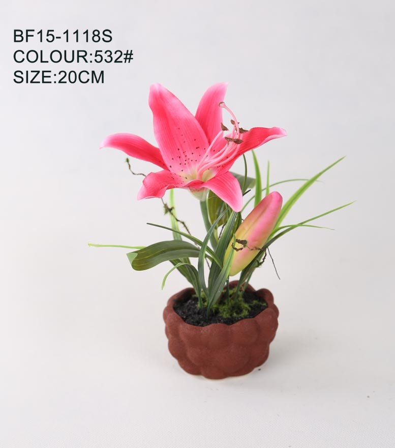 Wholesale Artificial Flower Lily, Fabric Artificial Lily Pot