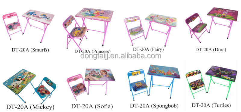 dt 20a cartoon metal tube kids folding table and chair sets designs folding table and chair for. Black Bedroom Furniture Sets. Home Design Ideas