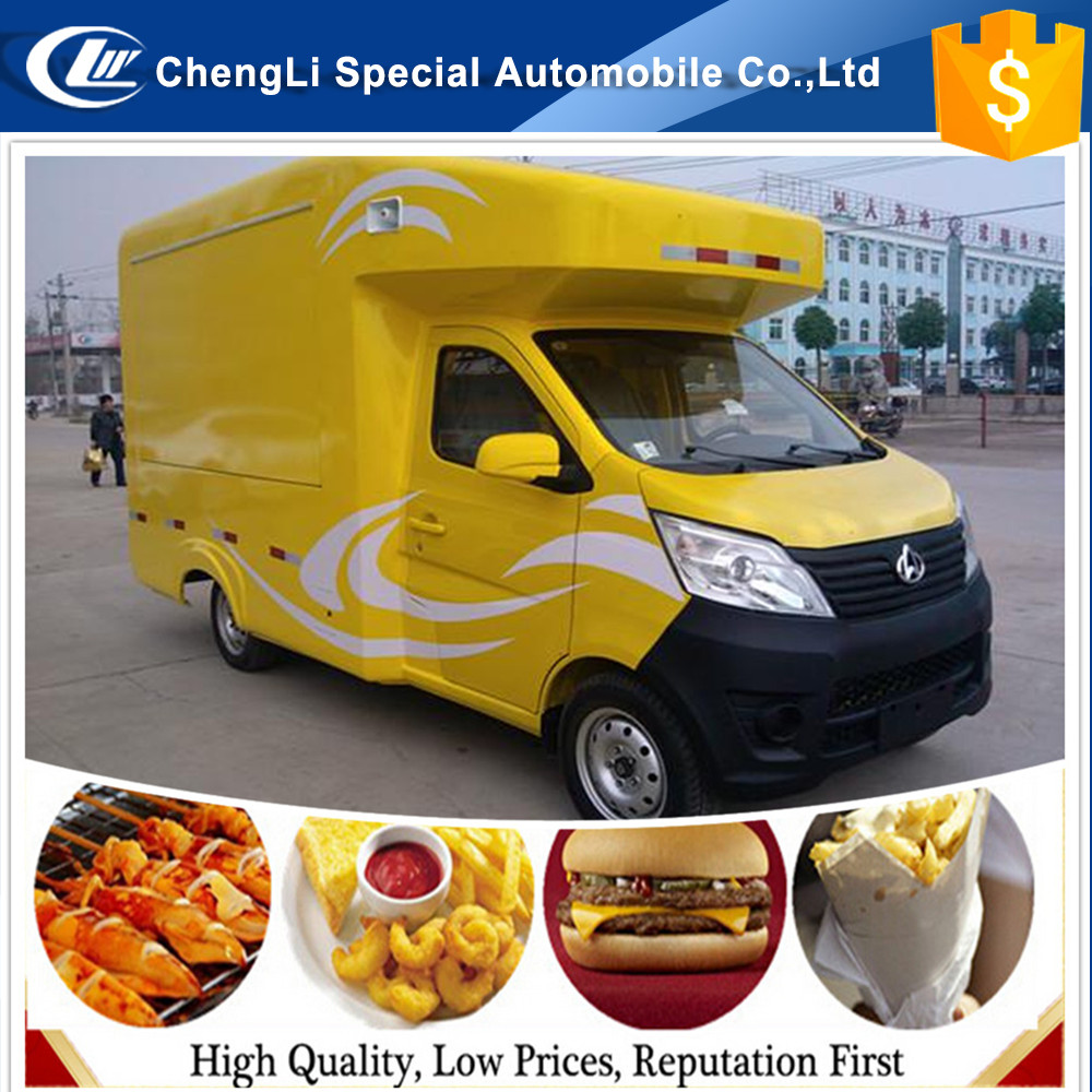 CLW Mobile FAST Food Trucks 4x2 Dongfeng moving Dining Van truck Outdoor Street kitchen Hamburger, popcorn, juice, icecream rice
