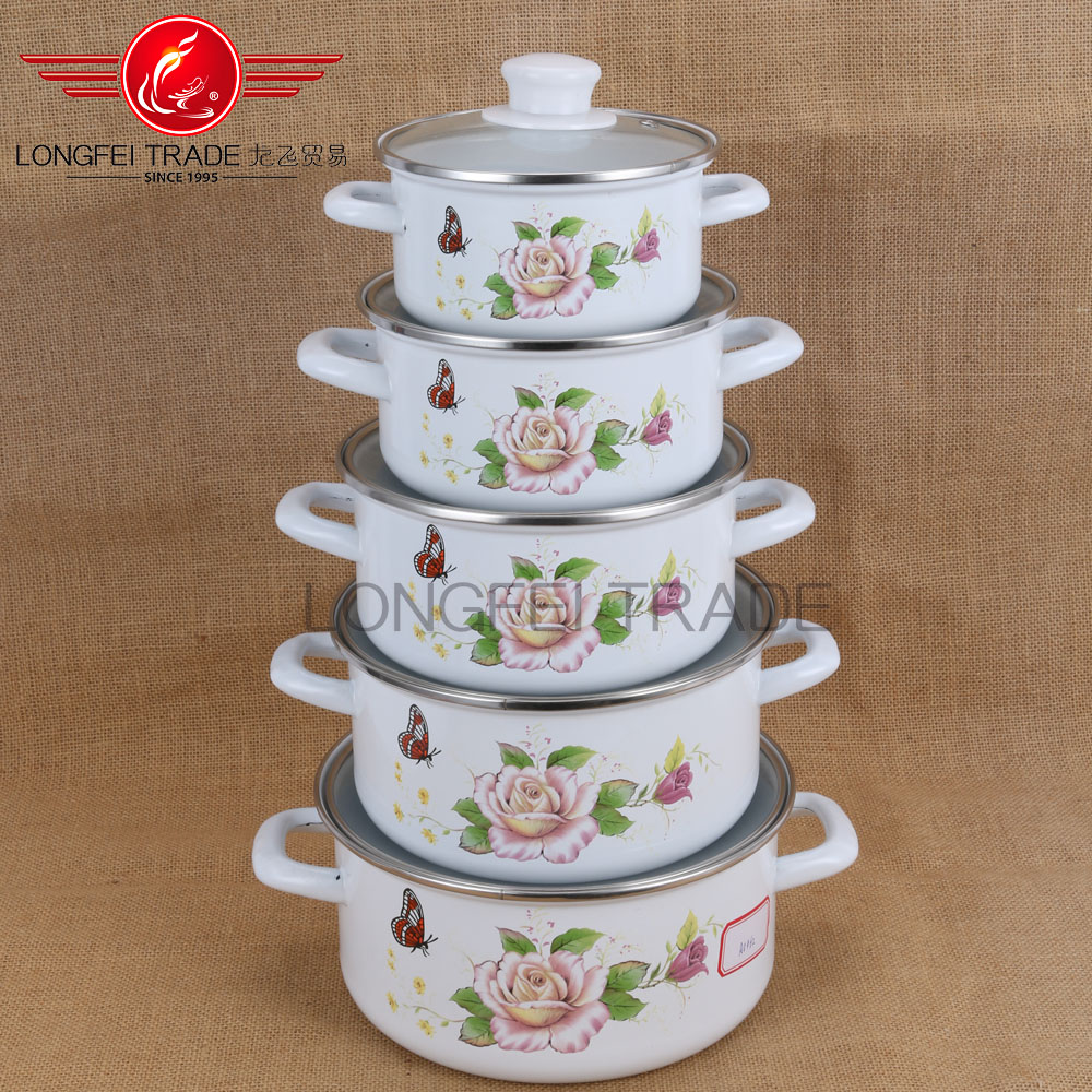 2016 new arrival Indian-style 5 pcs enamel mineral water pot/Korea Cookware