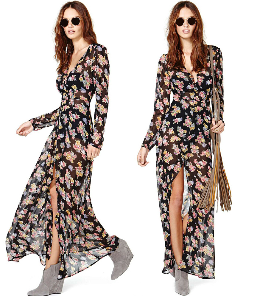 40324e687bd4 Buy Ladies Deep V Neck Front High Split Floral Boho Long Sleeve Maxi Dress  Chiffion women  39 s Casual Bohemian chiffon Beach dress in Cheap Price on  ...