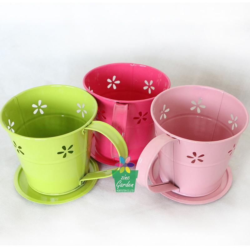 Medium Modern Galvanized Metal French Style Flower Pot Garden Coffee