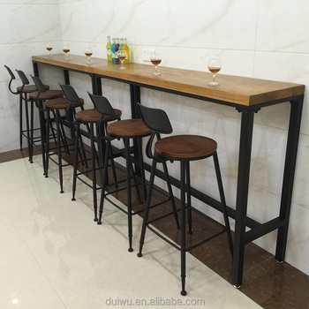 Iron Furniture Commercial High Top Long Narrow Wood Bar Tables