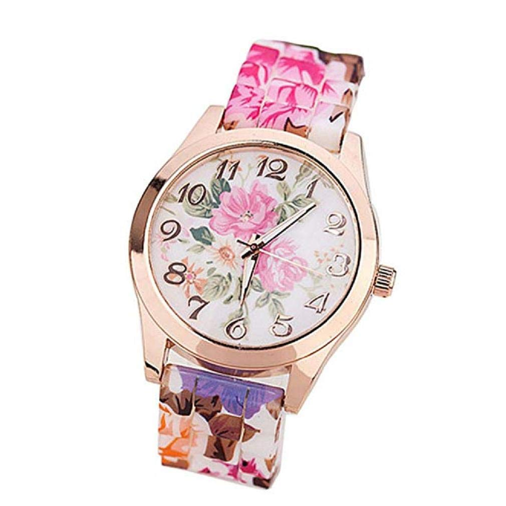 Women Quartz Watches,Windoson Unique Analog Fashion Clearance Lady Watches Female Watches Casual Wrist Watches for Women,Round Dial Case Comfortable Silicone Watch (Hot Pink)