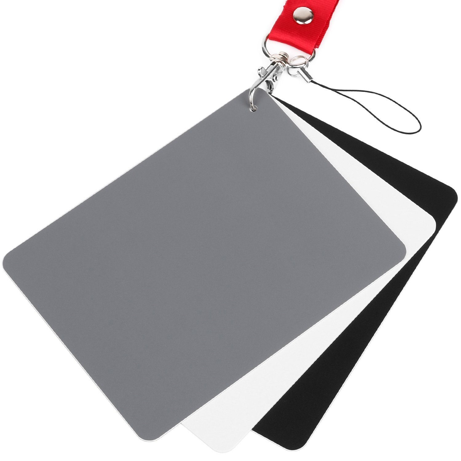 """ChromLives White Balance Grey Card 5.3"""" X7.3"""" 18% Exposure Photography Gray Card for Video DSLR and Film Photography, Black White and 18% Gray"""
