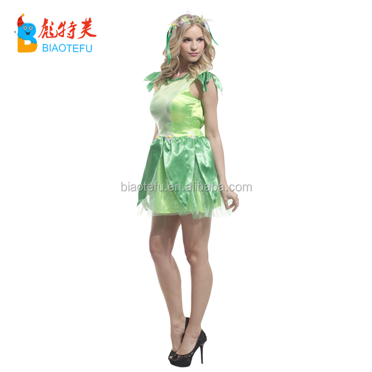 quality carnival party adult women green fairy cosplay fancy dress costumes with wing