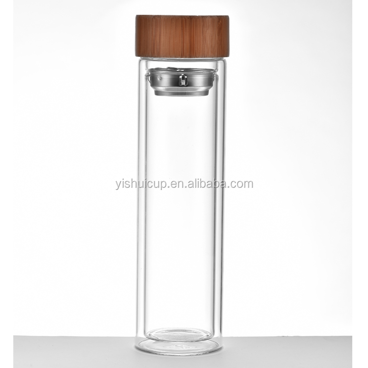 Wholesale Reusable Glass Water Bottle Infuser Bamboo Lids