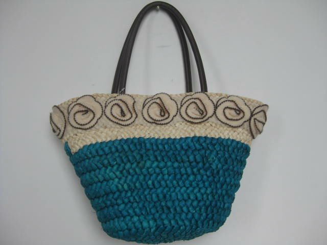 Handbags factory newest style corn husk straw handle bag