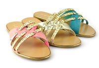 RMC flat heeled golden border adorn lady fancy sandals