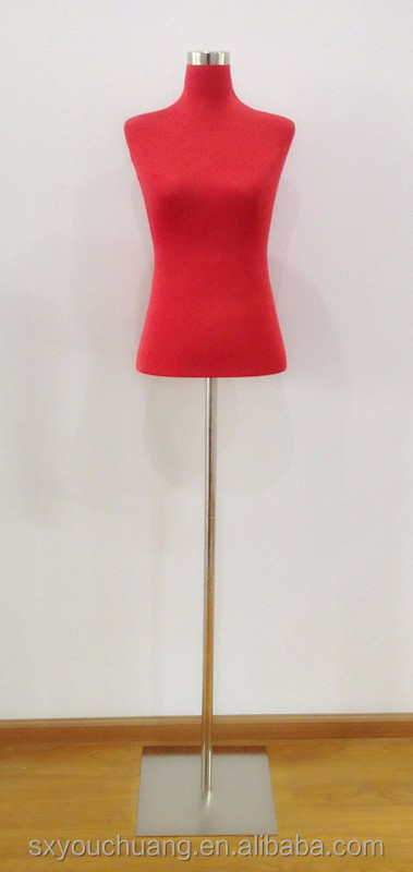 display female foam mannequin covered with elastic fabric with metal base