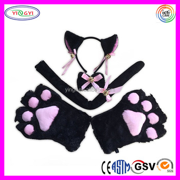 F189 Cat Cosplay Costume Set Ears Tail Collar Paws Child Cat Costume