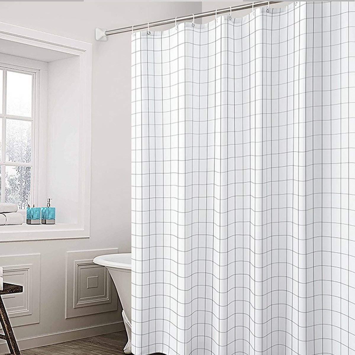 Get Quotations Togather Fabric Shower Curtain Mildew Resistant Anti Bacterial White And Black Curtains