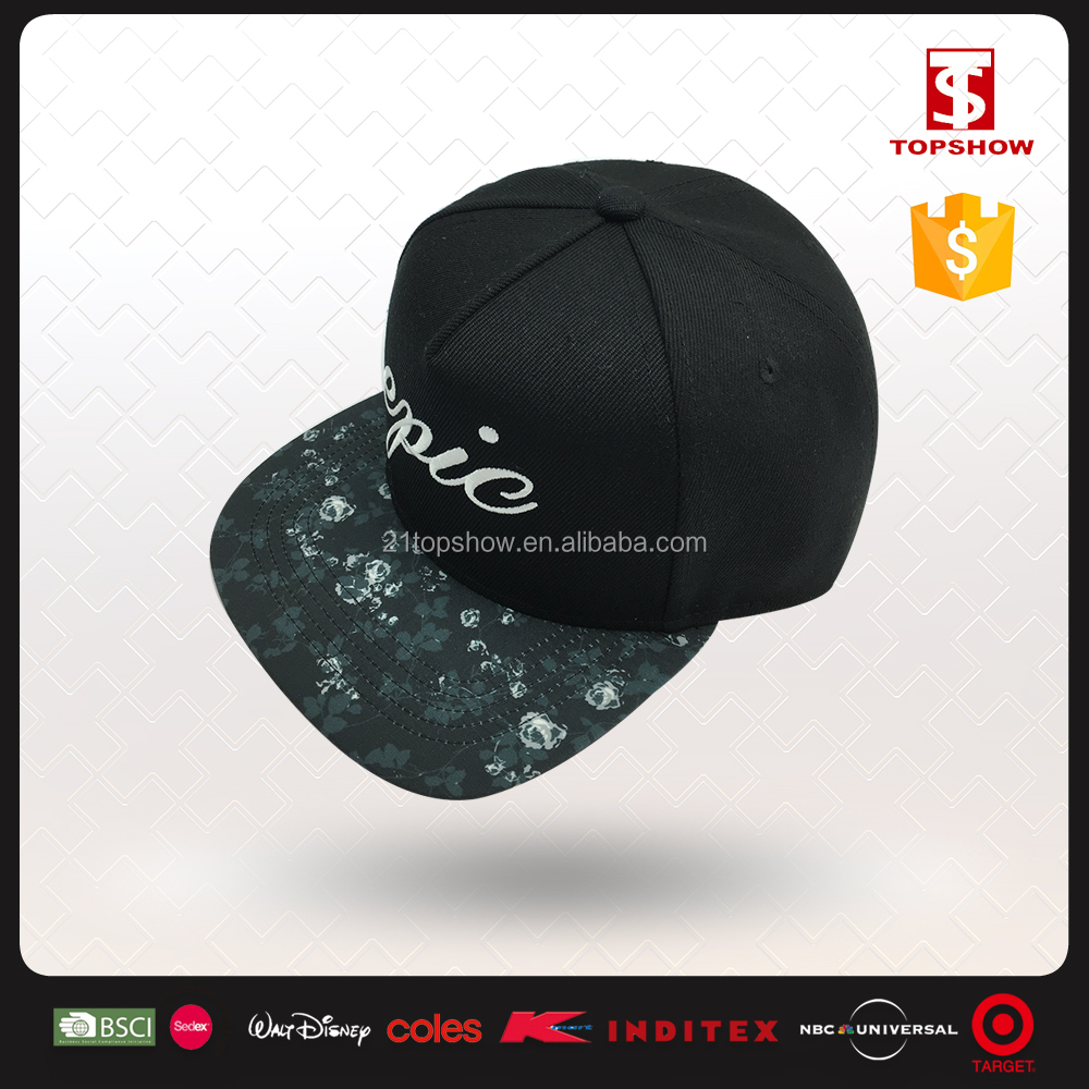 Foral print lace decoration embroidery plain snapback hats