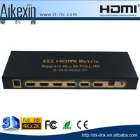 4x2 hdmi matrix 3d 4k high speed 4 to 2 splitter switch box with remote + spdif / toslink and 3.5 mm audio output 1080p hd