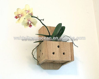 Wall Planter Hanging Wood Plant Box Orchid Pot Wooden Hanger Mounted