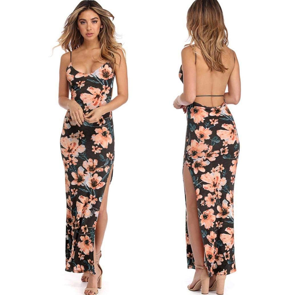 Long Dress,Fashion Womens Sexy Floral Printed Spaghetti Strap Camis Backless Split Party Bodycon Dress