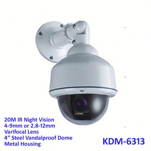 "4"" Steel Vandalproof Dome infared cctv camera with 4-9mm Lens, 20M IR"