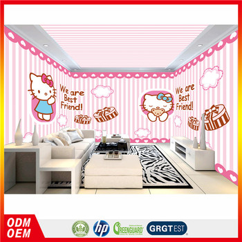 Custom Whole Room Wall Murals Cartoon Design Pink Style Hello Kitty