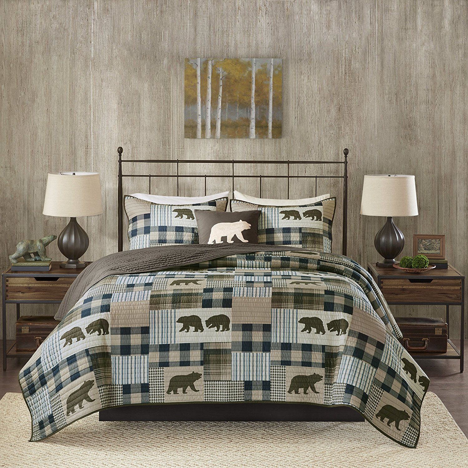 4 Piece Oversized Brown Blue White Full Queen Quilt Set, Patchwork Pattern Bedding Tartan Plaid Themed Checkered Bear Mountain Winter Cozy Stylish Cabin Lodge Cottage Trendy Animal, Polyester
