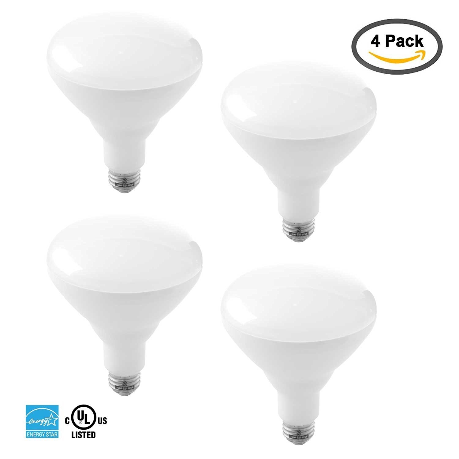 Light Blue™ BR40 LED Bulb, 15 Watt (85W equivalent), Soft White 2700K, Flood Light Bulb, 1200 Lumens, Dimmable, UL-Listed Energy Star-Qualified (Pack of 4)