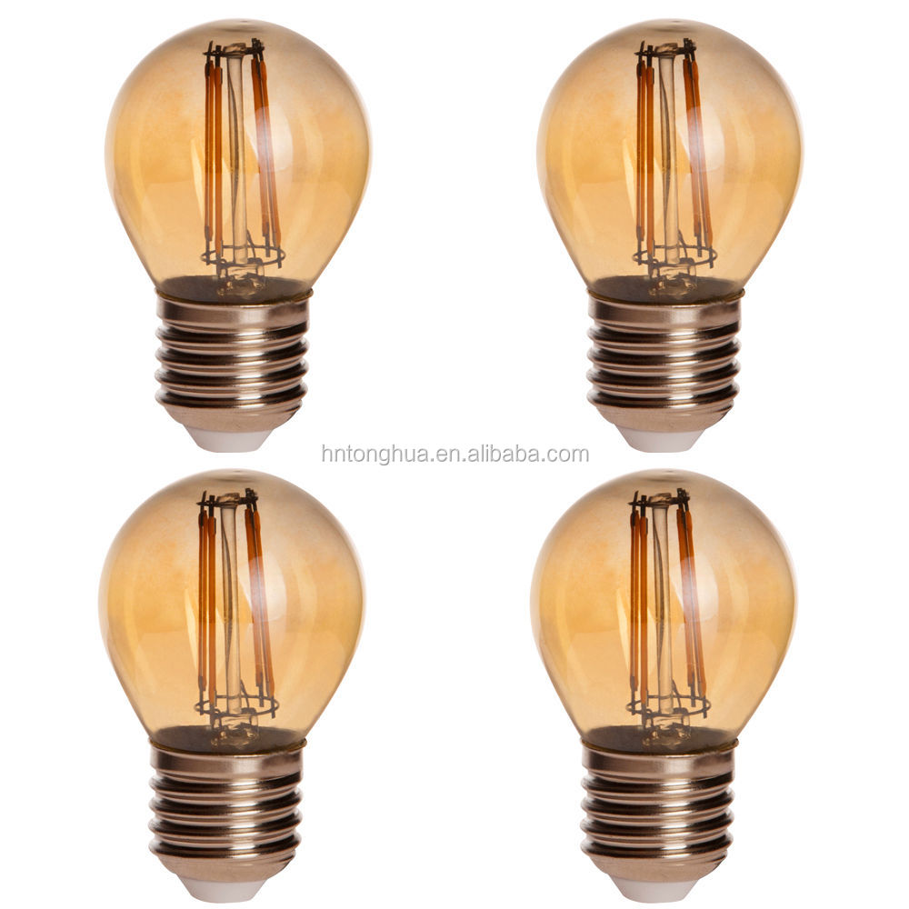 E27 2W 4W Edison Style Retro Vintage LED Filament Light Bulb Energy Saving globe LED filament bulb G45- Amber
