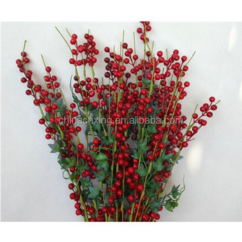 waterproof styrofoam red berry pick for christmas tree decoration