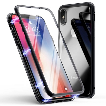 2019 Magnetic Adsorption Case Ultra Slim Metal Frame Tempered Glass Back and front with Built-in Magnet Flip Cover for Apple