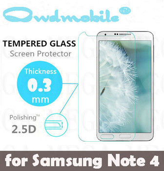 factory wholesale 0.33mm 2.5D tempered glass screen protector for Samsung Note 4